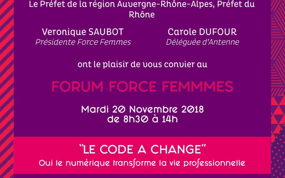 Forum «digitalisation de l'emploi» 20 novembre à la Préfecture du Rhône avec Force Femmes & Altitud RH